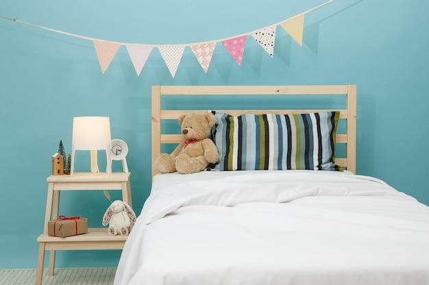 O quarto para criança, quarto azul moderno para criança Foto Premium
