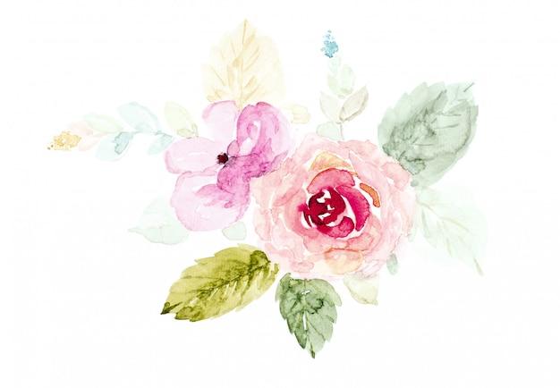 O ramalhete floresce a aguarela pintado à mão no branco. Foto Premium