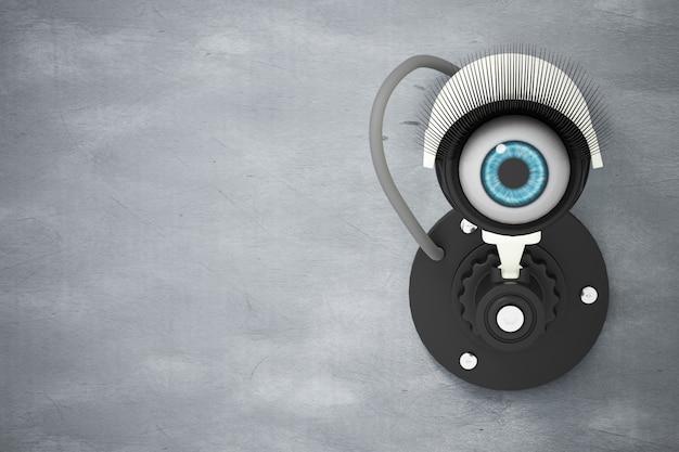 O sistema de cftv branco instalado na parede de cimento com os olhos em vez da lente da câmera Foto Premium
