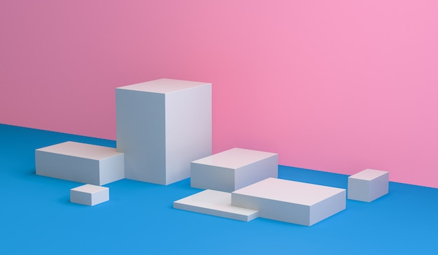 O sumário minimalista, figuras geométricas primitivas, cores pastel, 3d rende. Foto Premium