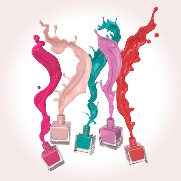 O verniz para as unhas colorido ou a pintura colorida da laca espirram no fundo branco, ilustração 3d. Foto Premium