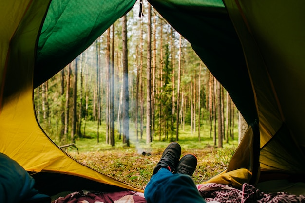 O viajante aprecia a vista da natureza de sua barraca de acampamento. Foto Premium