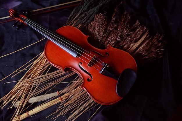 O violino de madeira colocado ao lado de flores secas, sobre fundo de superfície grunge, vintage e arte Foto Premium