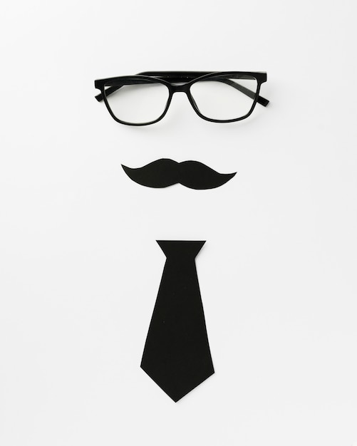 Óculos com bigode e gravata Foto gratuita
