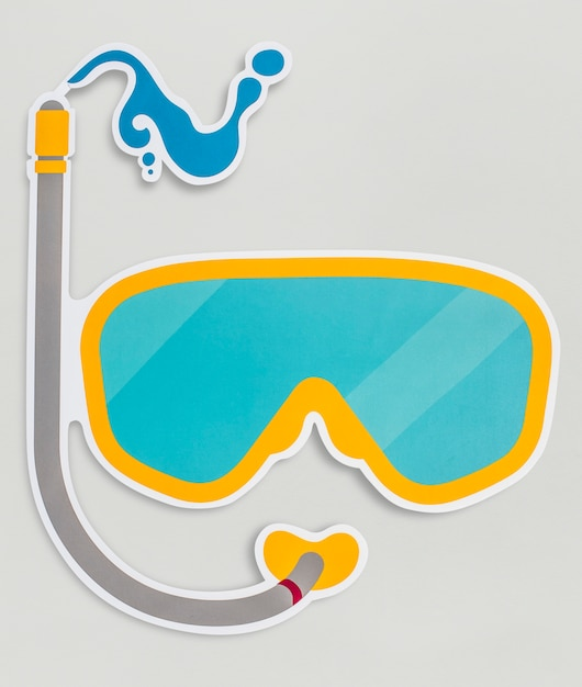 Óculos de proteção para mergulho isolado no fundo Foto gratuita