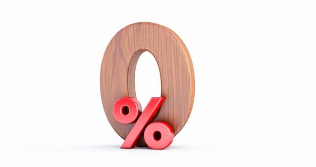 Oferta especial de madeira zero por cento ou 0%. madeira 0 por cento fora do sinal 3d no fundo branco, Foto Premium