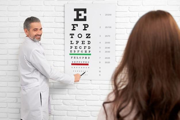 Oftalmologista apontando para olho gráfico de teste. Foto Premium