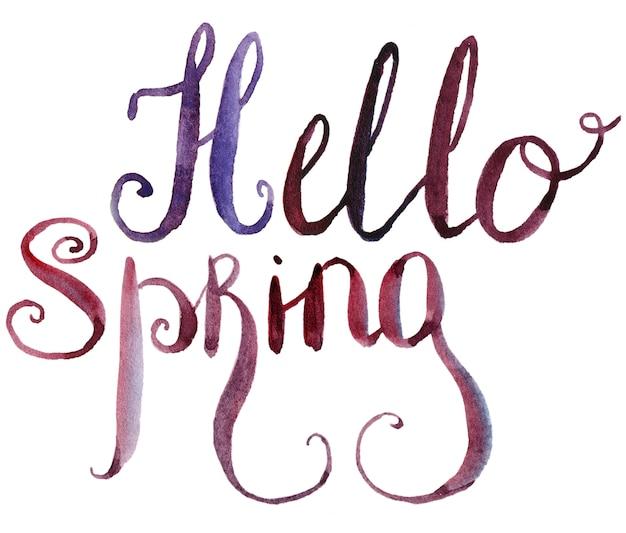 Olá letras de primavera Foto Premium