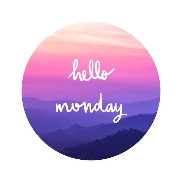 Olá rotulação de segunda-feira na paisagem Foto Premium