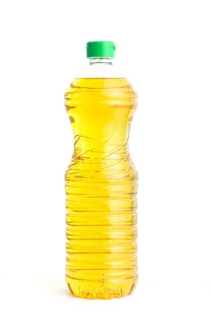 Óleo de cozinha em garrafa de plástico em branco Foto Premium