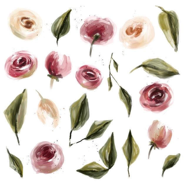 Óleo de rosas e folhas coleção de flores Foto Premium