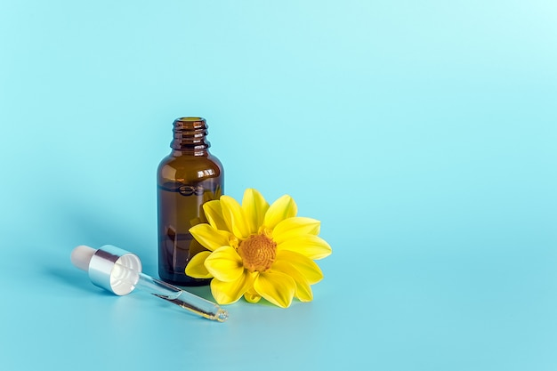Óleo essencial em frasco conta-gotas marrom aberto com pipeta de vidro e flor amarela sobre fundo azul Foto Premium