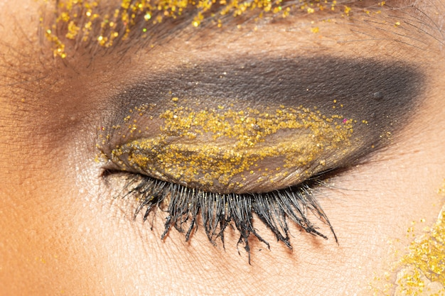 Olho de parte do corpo com cílios close-up Foto Premium
