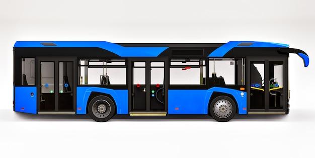 Ônibus azul urbano de mediun em um espaço isolado branco. renderização em 3d. Foto Premium