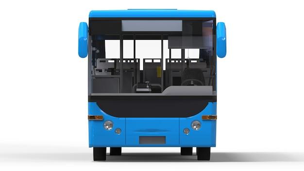 Ônibus urbano azul pequeno em branco Foto Premium