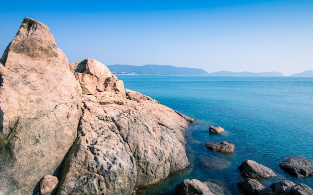 Opinião bonita do seascape da praia de sinji myeongsasimni, wando, coreia do sul. Foto Premium