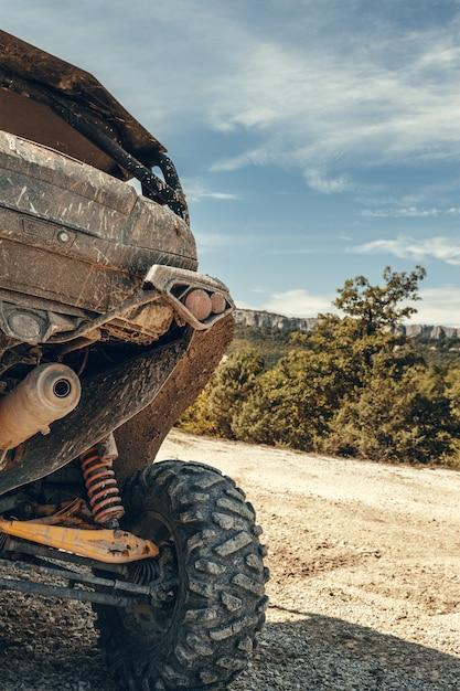 Opinião da cauda do close-up da bicicleta do quadrilátero de atv. Foto Premium
