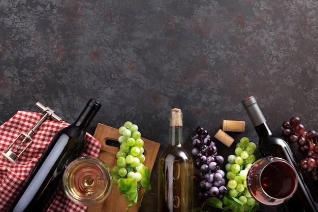 Organização de produtos de degustação de vinhos Foto gratuita