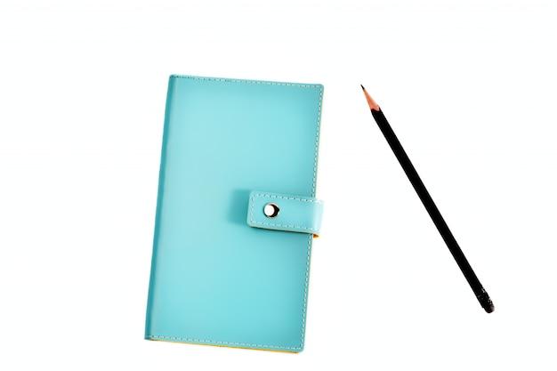 Organizador de couro azul com lápis Foto Premium