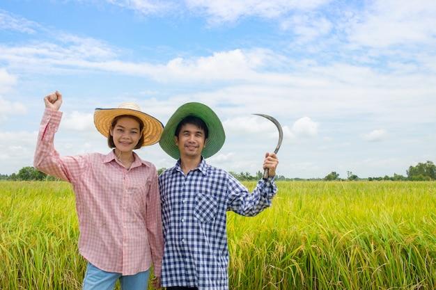 Os agricultores asiáticos casais homens e mulheres em pé sorriso feliz levantando os braços carregando foice nos campos de arroz dourado Foto Premium