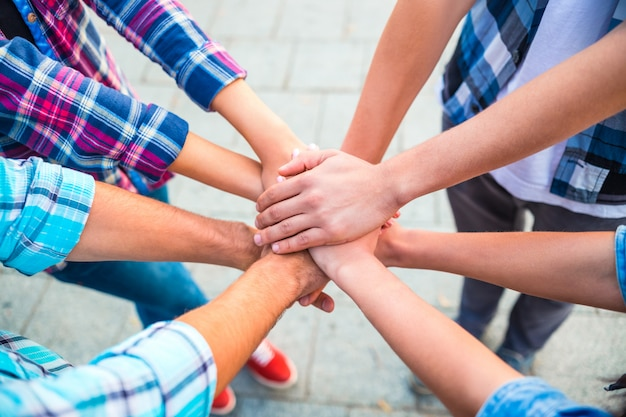 Os alunos no parque juntam as mãos como um verdadeiro time. Foto Premium