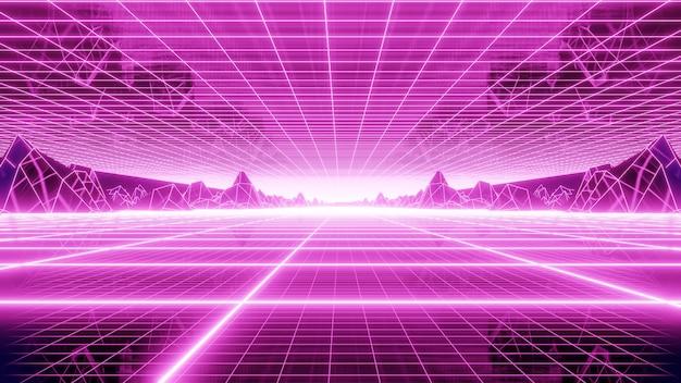 Os anos 80 retro grid mountain background na cena da arte retro dos anos 80. Foto Premium