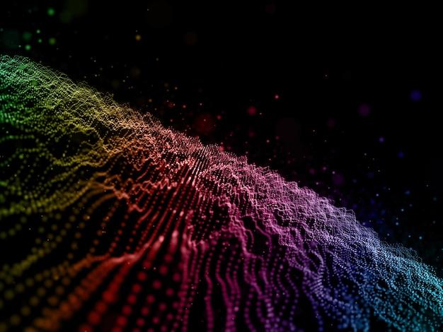 Os cyber dots 3d abstraem base com partículas fluidas coloridas arco-íris Foto gratuita