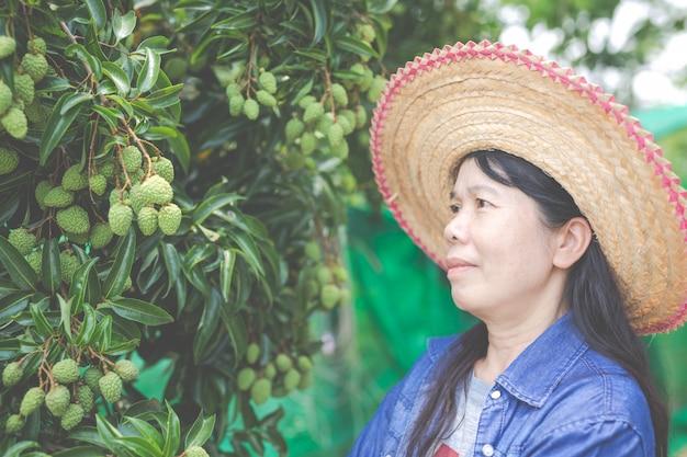 Os fazendeiros fêmeas verificam o lichi no jardim. Foto gratuita