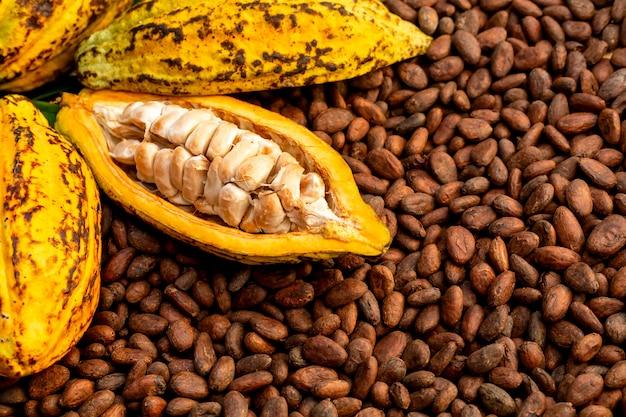Os feijões de cacau aromáticos como o fundo, os feijões de cacau e o cacau frutificam em de madeira. Foto Premium