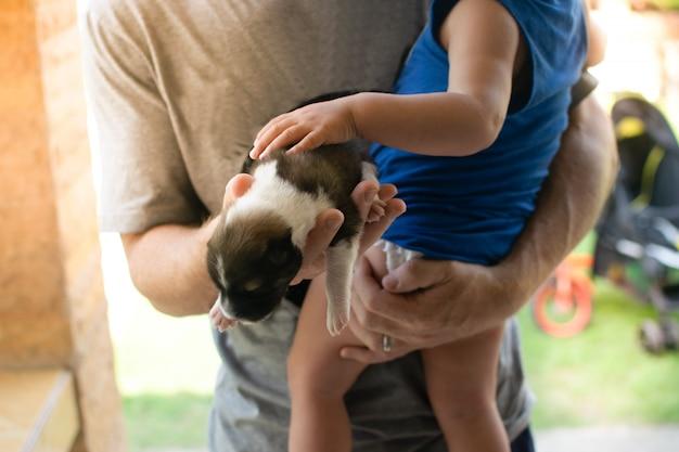 Os pais dão filhote de cachorro para o garoto pela primeira vez Foto Premium