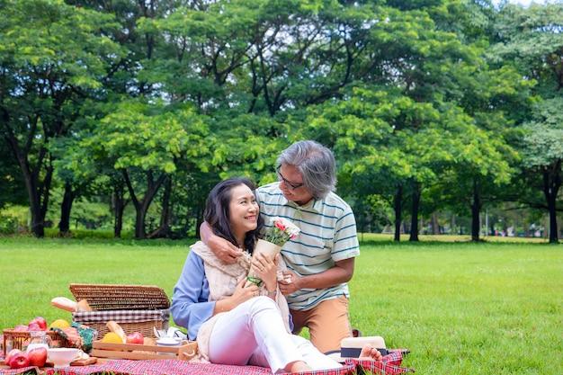 Os pares velhos relaxam no parque. na manhã homem que abraça a mulher ao lado da cesta do piquenique. Foto Premium