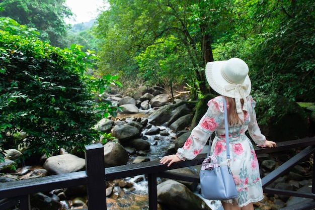 Os turistas asiáticos da menina visitam a beleza da natureza na cachoeira. Foto Premium