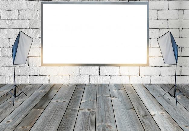 Outdoor em branco com luzes de estúdio no chão de madeira na parede Foto Premium