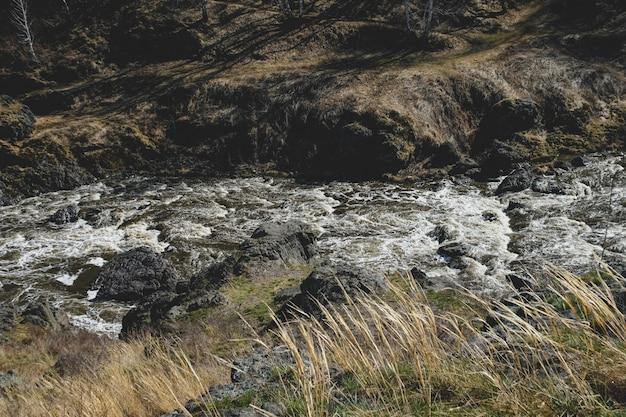 Outono paisagem de fluxo de rio de montanha Foto Premium