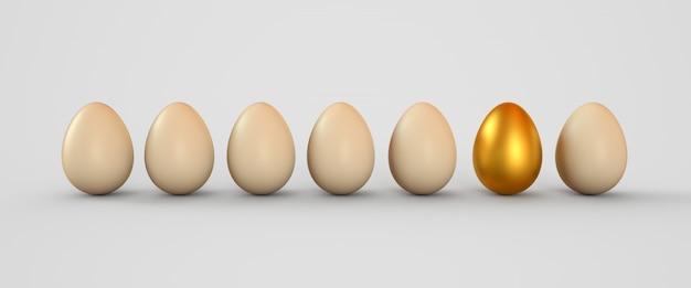 Ovo de ouro em uma fileira dos ovos brancos Foto Premium