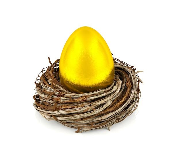 Ovo de ouro no ninho, investimento e conceito financeiro Foto Premium