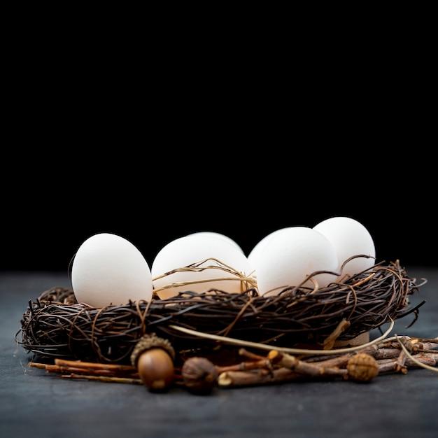 Ovos brancos em um ninho Foto gratuita