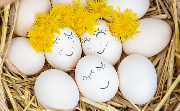 Ovos caseiros com rostos bonitos e um sorriso. Foto Premium