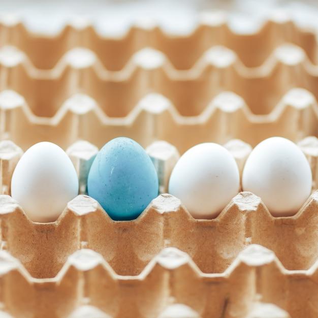 Ovos de bandeja de ovos de célula de caixa branca e uma bandeja colorida para ovos Foto Premium
