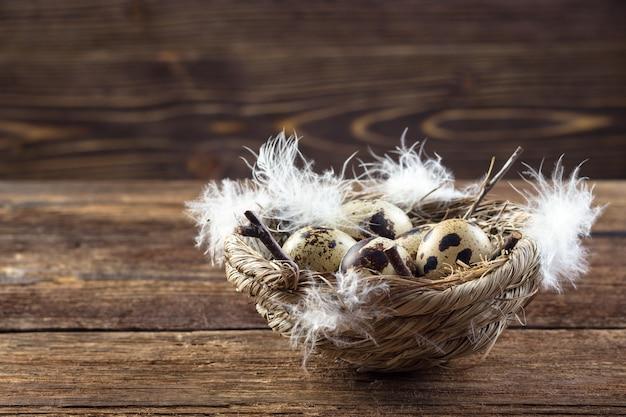 Ovos de codorna em um ninho em uma mesa de madeira. Foto Premium