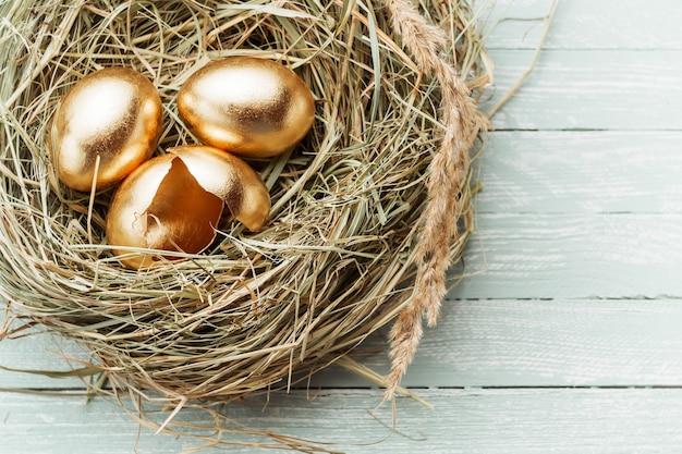 Ovos de ouro no ninho, um ovo quebrado Foto Premium