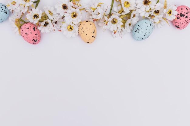 Ovos de páscoa coloridas perto de flores Foto gratuita