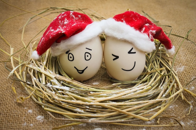 Ovos felizes no natal. Foto Premium
