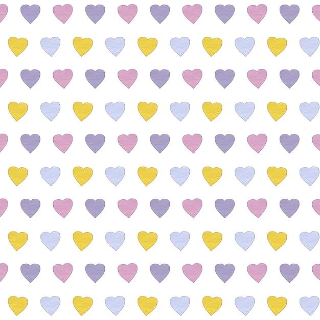 Padrão de corações multicoloridos. desenho em aquarela. Foto Premium