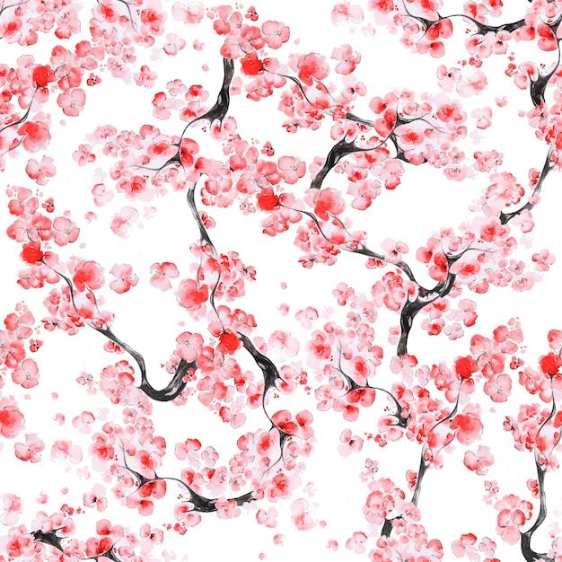 Padrão de flor de cerejeira Foto Premium