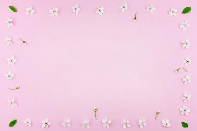 Padrão de flores desabrochando árvore de cereja branca primavera Foto Premium