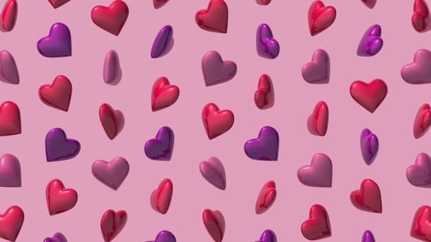 Padrão de formas de coração em fundo rosa. ilustração abstrata, renderização 3d. Foto Premium
