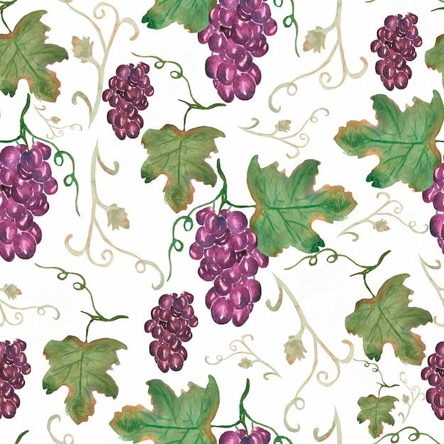 Padrão de frutas vintage clássico com uvas Foto Premium