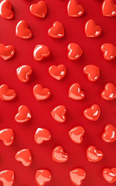 Padrão de fundo dia dos namorados corações. cor vermelha em negrito plana leigos. amo o cartão de celebração, cartaz, modelo de banner para ilustração de renderização 3d festa Foto Premium