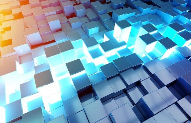 Padrão de fundo preto quadrados azul e laranja brilhante Foto Premium